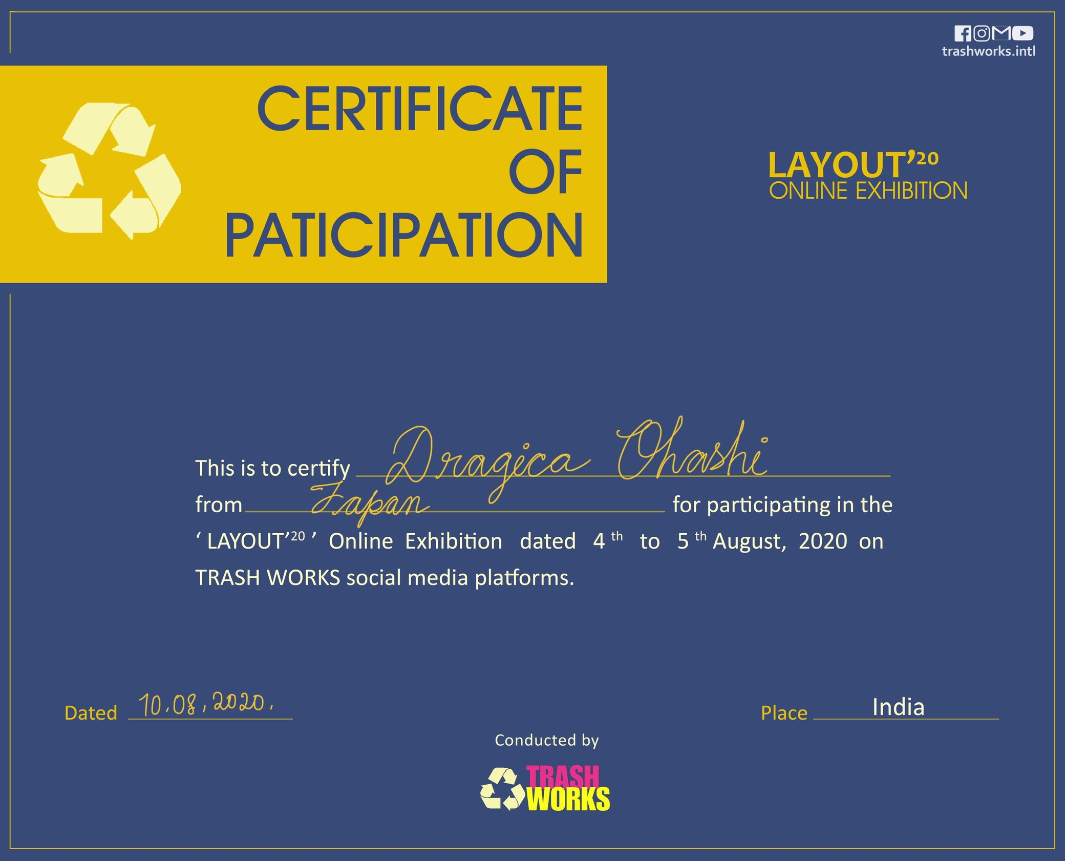 CERTIFICATE OF PARTICIPATION LAYOUT'20 TRASH WORKS-